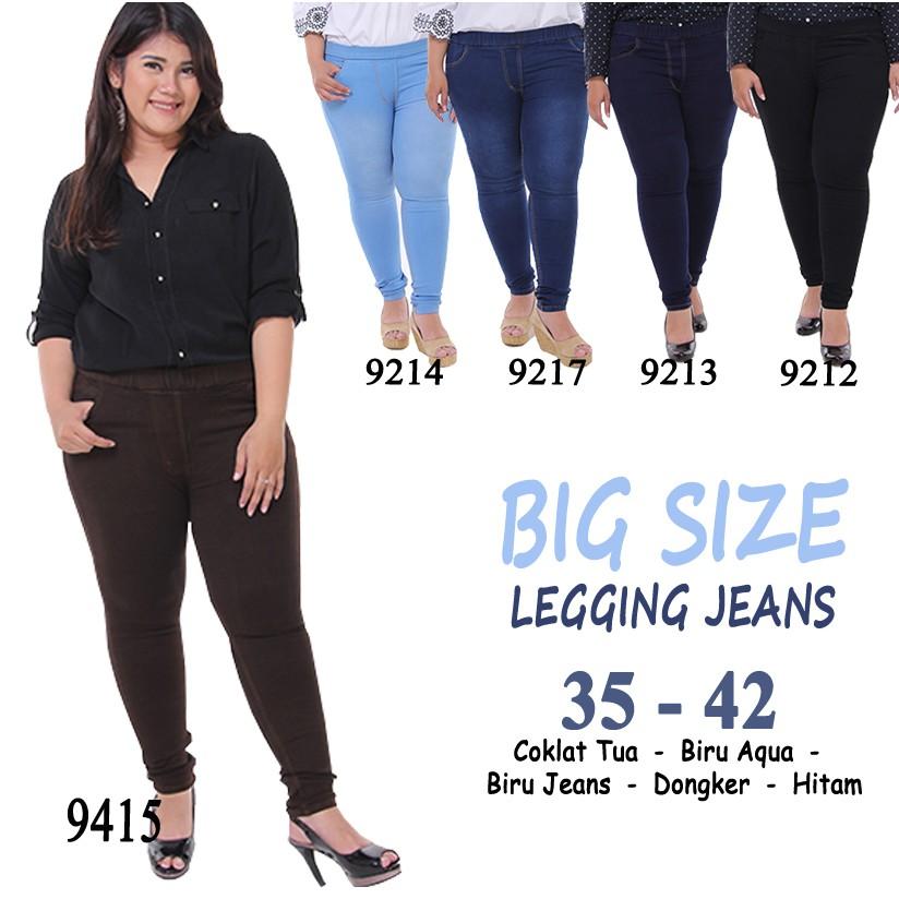 Jegging Jeans Jumbo Wanita Gemuk Murah Kekinian 9212
