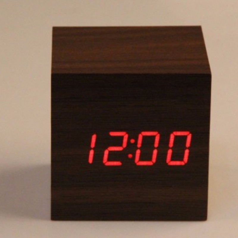 Digital LED Kayu Kayu Meja Jam Alarm Tunda Kontrol Suara Timer Thermometer   1f2dec7ded