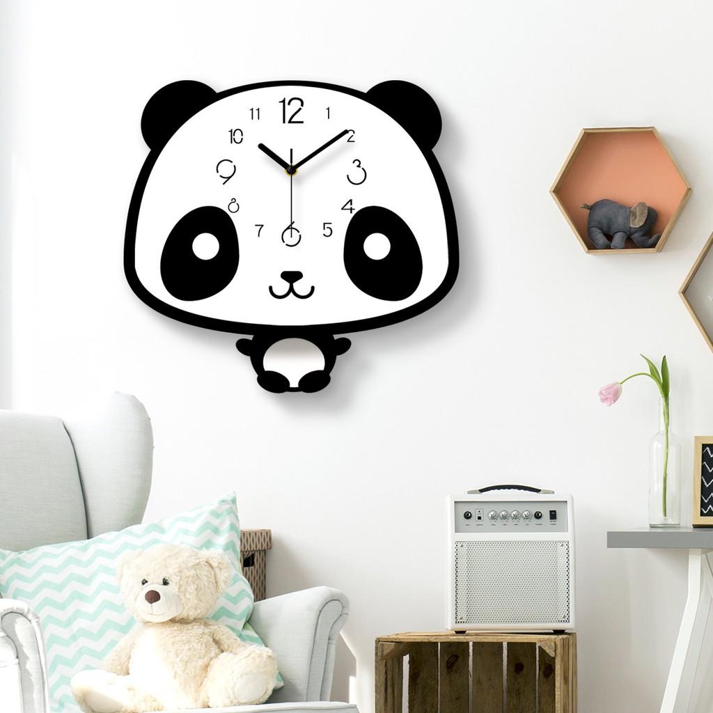 Jam Dinding Kreatif Bentuk Lucu Panda Ayunan Seri Hitam Putih