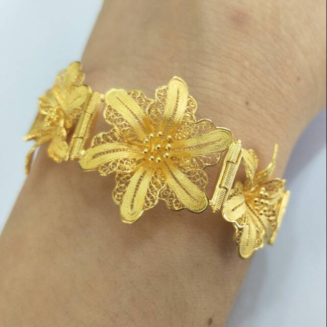 Gelang emas asli kadar 875 model 3 bunga kendari