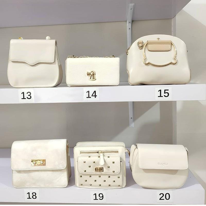 tas impor selempang wanita warna putih kulit sentetis ...