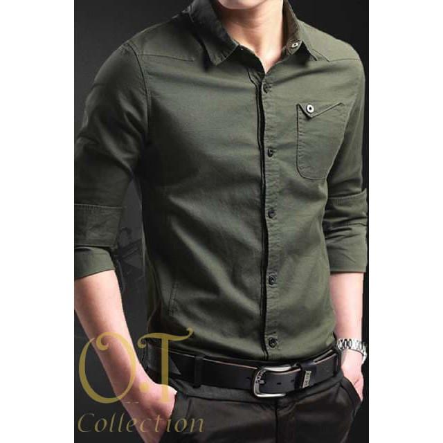 PROMO [Miller army OT] pakaian pria kemeja slim fit warna hijau army - Hijau BEST SELLER