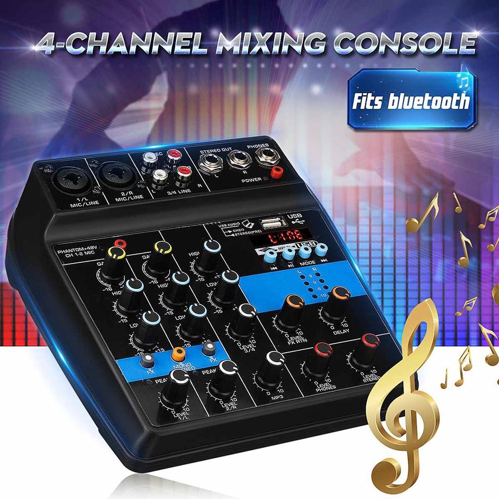 Mixer Audio USB Mini Portable Live Audio Mixer Karaoke DJ 4 Channel