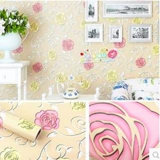 Wallpaper Dinding Ukuran 45 Cm X 10 M Motif Bunga Mawar Kuning Pink Ungu Hijau Minimalis Shopee Indonesia