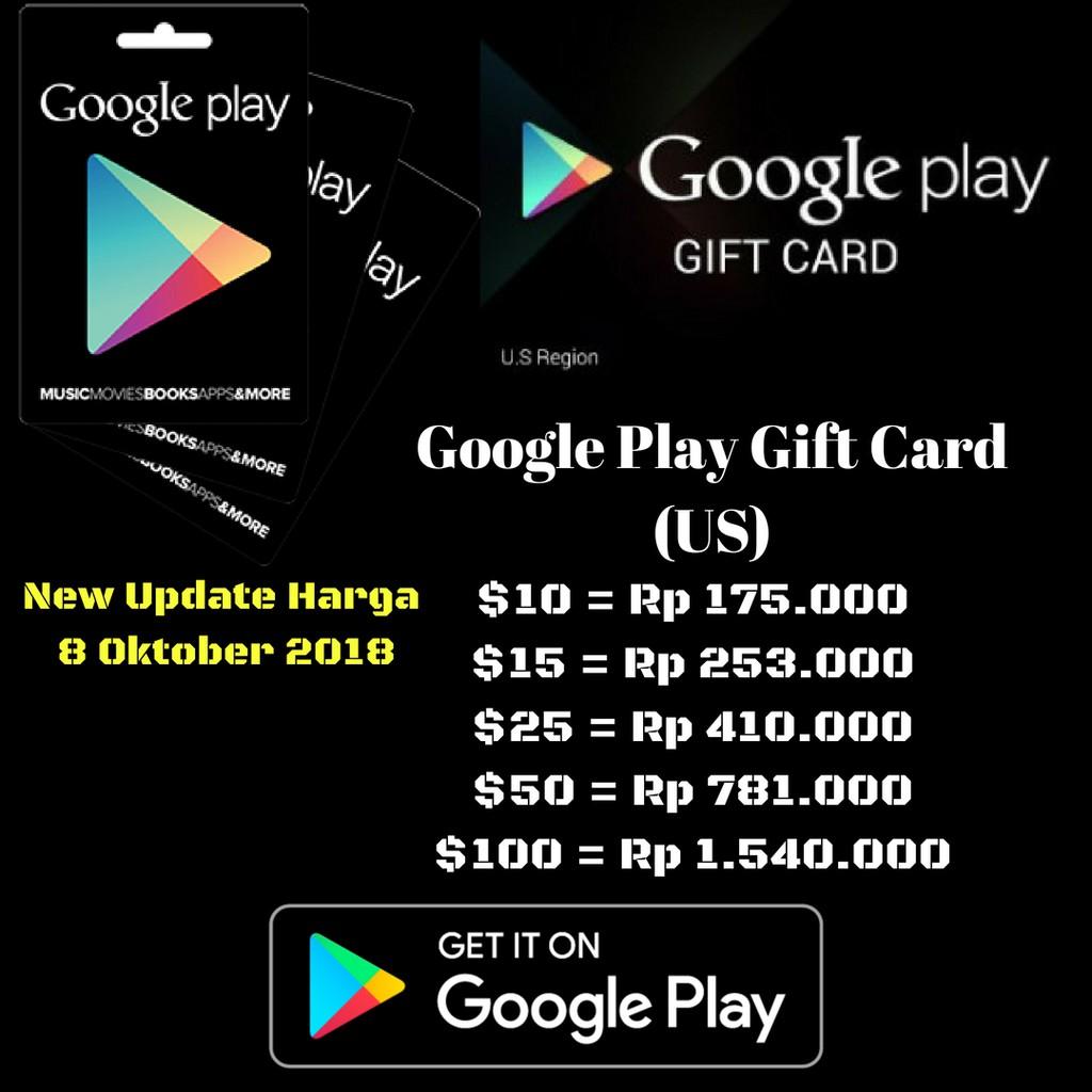 Voucher Google Play Gift Card 20000 50000 100000 Indonesia Indomog Lyto 175000 Game On Region Shopee