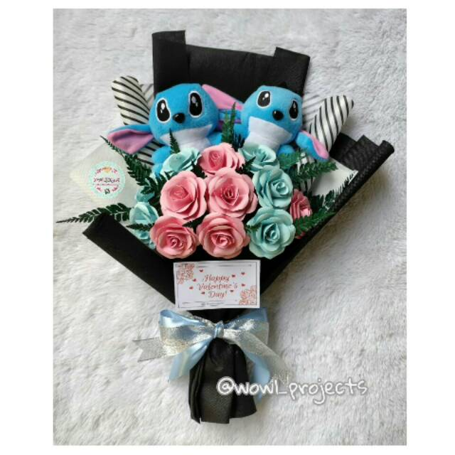 Buket Boneka Stitch Buket Bunga Stich Buket Boneka Wisuda Stitch Paper Bouquet Stitch Shopee Indonesia