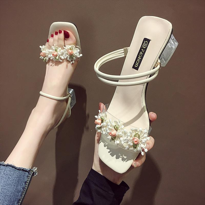 Summer Sandals Women 2020 New Fairy Style Outer Wear Fashion Flowers High Heeled Two Word Thick Heel Sandals And Slippers Shopee Indonesia