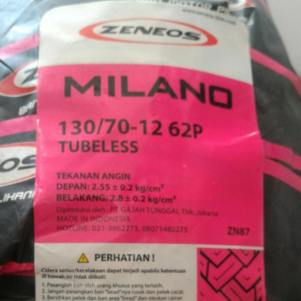 Zeneos Milano Zn 87 120 70 10 Tubeless Ban Vespa Shopee Indonesia 12