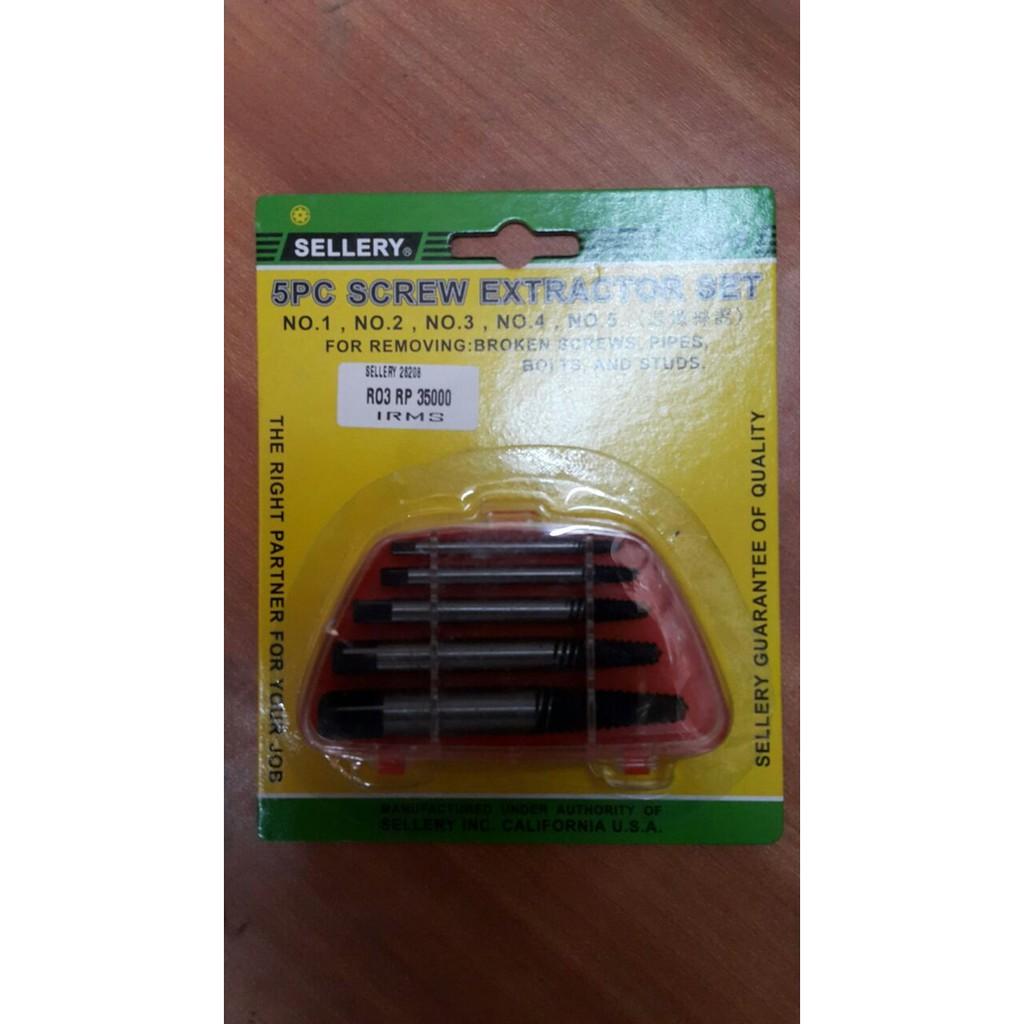Sellery 5pcs Screw Extractor Daftar Harga Terbaru Terlengkap Pembuka Baut Rusak Aisxle Broken Striped Remover Silver Hand Tap Balik Set 5 Pcs 26 208