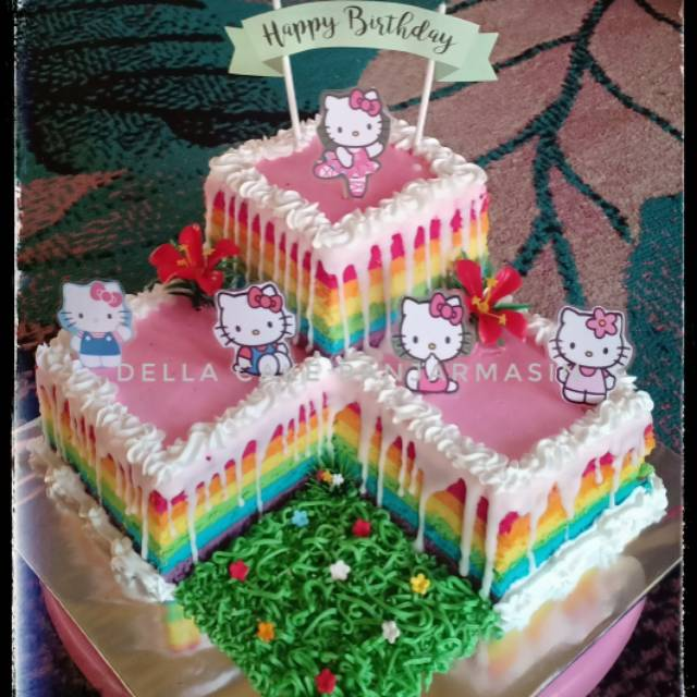 Kue Ultah Hello Kitty Kue Ultah Banjarmasin Rainbow Cake Shopee Indonesia