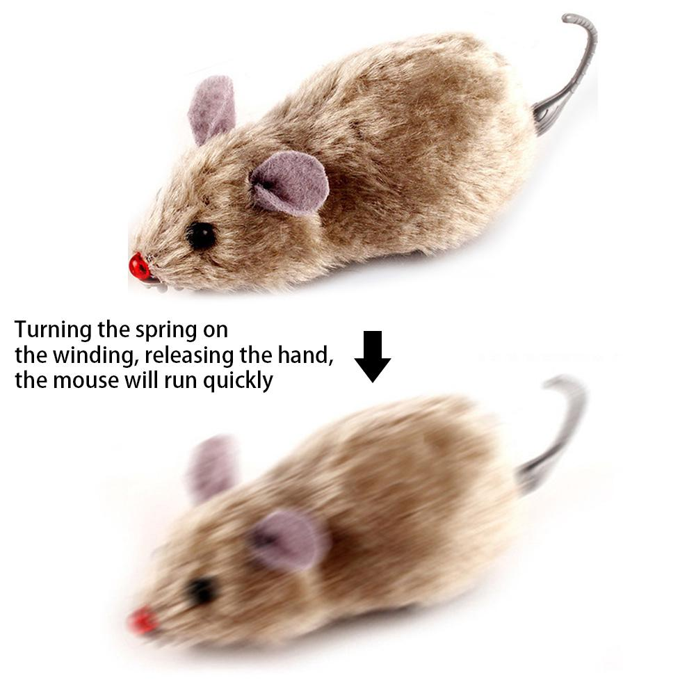 Racing Mechanical Moving Plush Mouse Rat Cat Toy Funny Wind