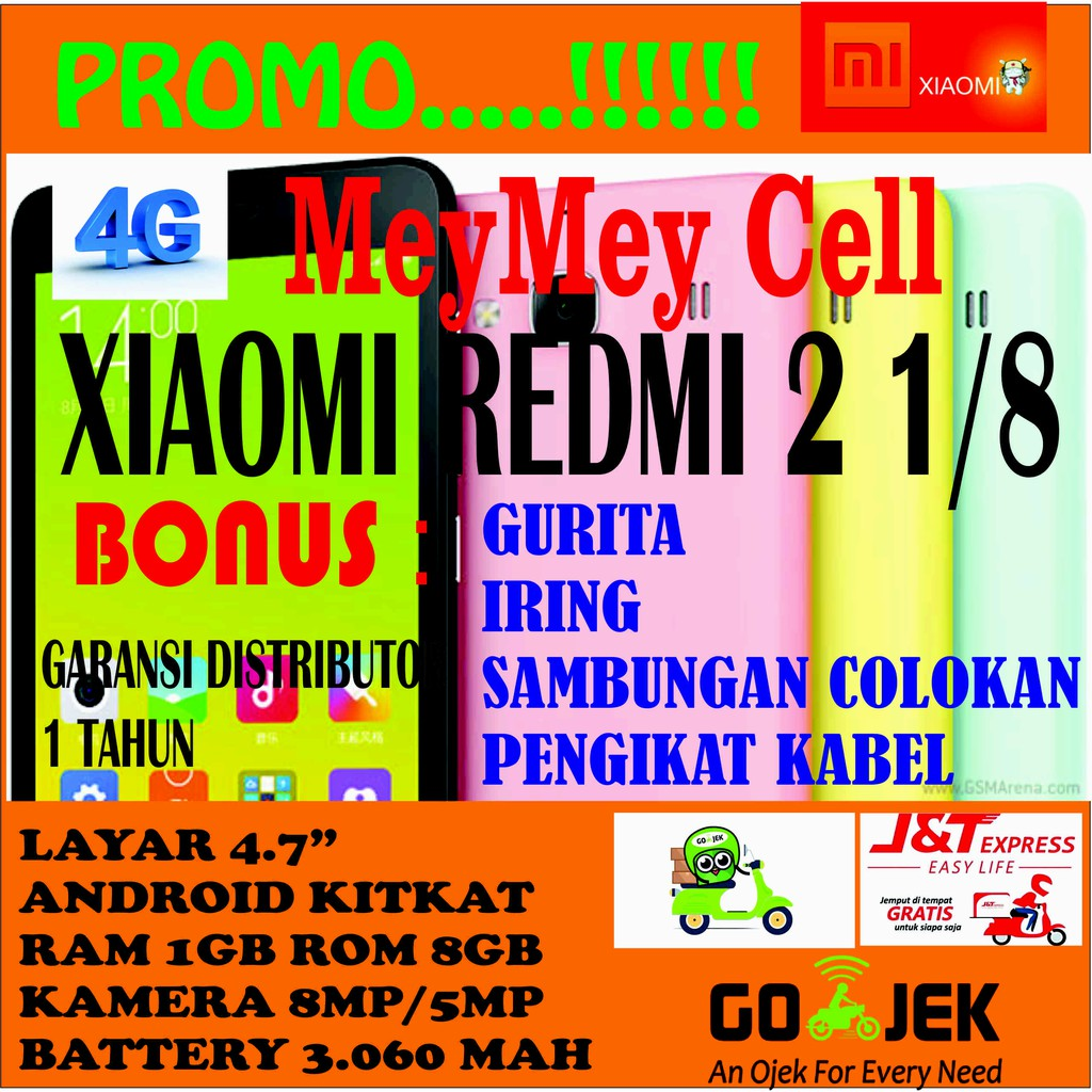 Xiaomi Redmi 2 1gb 8gb Garansi Distributor Shopee Indonesia Ram 1