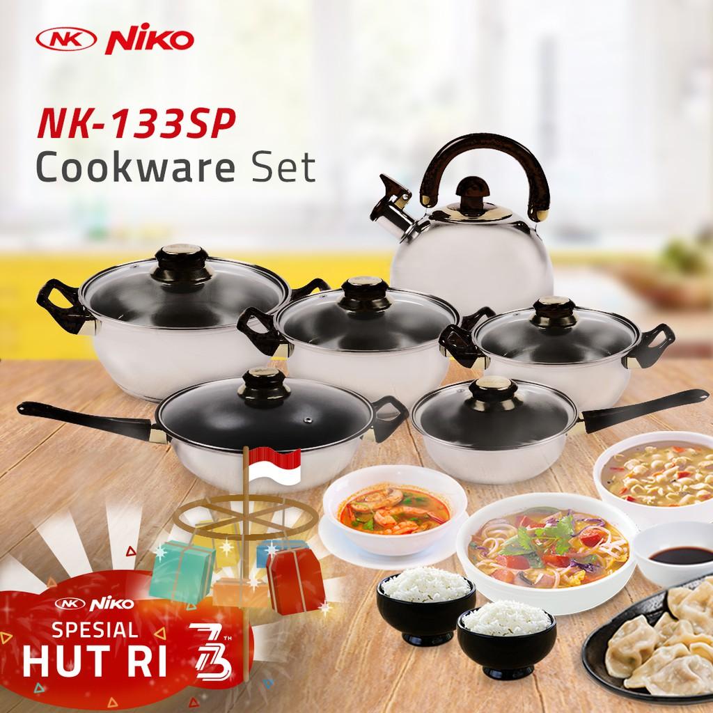 MUST HAVE Promo Niko Panci Masak Cookware Lengkap Set 6pcs NK1113SP Hitam Murah Berkualitas Original | Shopee Indonesia