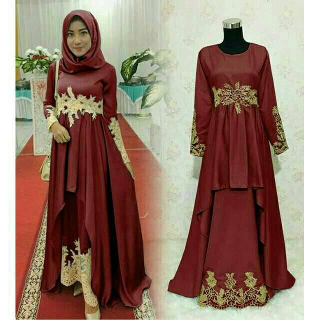 4 Warna Gamis Dress Elegan Muslimah Cantik Terbaru Untuk Pesta