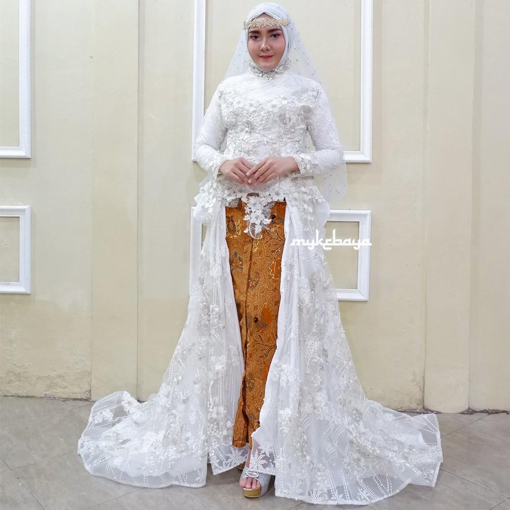 Terbaru Couple Kebaya Pengantin Lace 3d Modern Elegan Putih Akad Resepsi Pernikahan Nikah Ijab Qabul Shopee Indonesia
