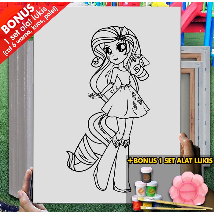 Kanvas Melukis Anak My Little Pony Manusia 30x40 Cm Mel1147 Mewarnai Coloring Shopee Indonesia