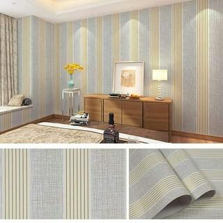 wallpaper dinding salur abu garis gold stiker kamar tidur