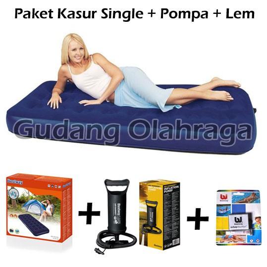 Paket Kasur Angin Single Bestway + Pompa + Lem