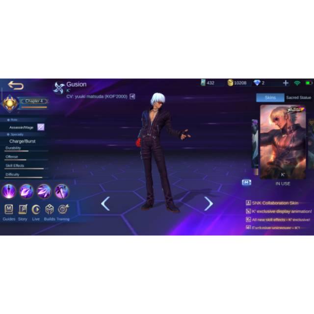 Akun Mobile Legend skin KoF gussion