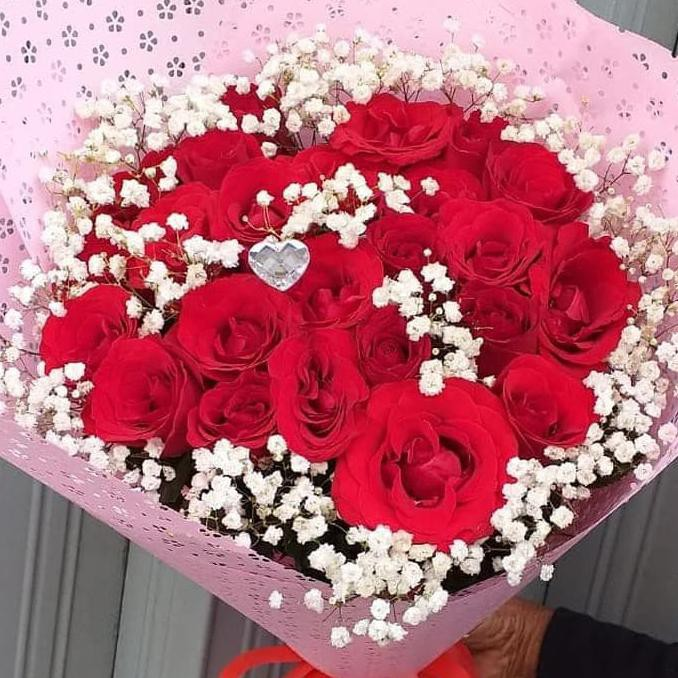 Best Seller] Bunga Asli Buket Valentine - Merah