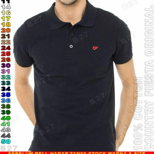 COUNTRY FIESTA Original P2 11 Kaos Polo Shirt Pria Cotton Hitam   Shopee  Indonesia 9c0e451756