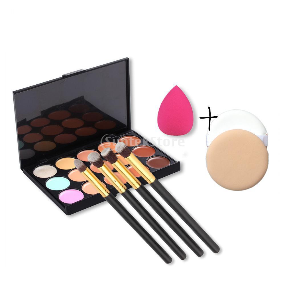 Baru Set Palet Makeup Concealer Wajah 15 Warna + Peralatan Brush 8 Buah + Spons Puff