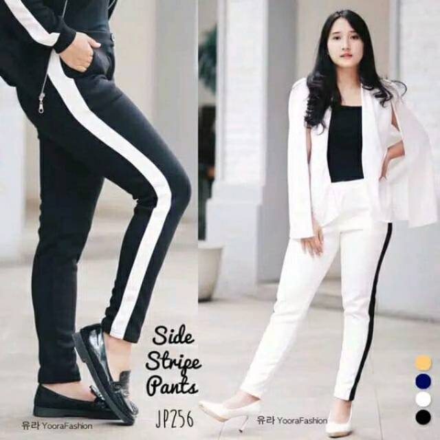 Celana Garis Putih S Strip List Pants Shopee Indonesia