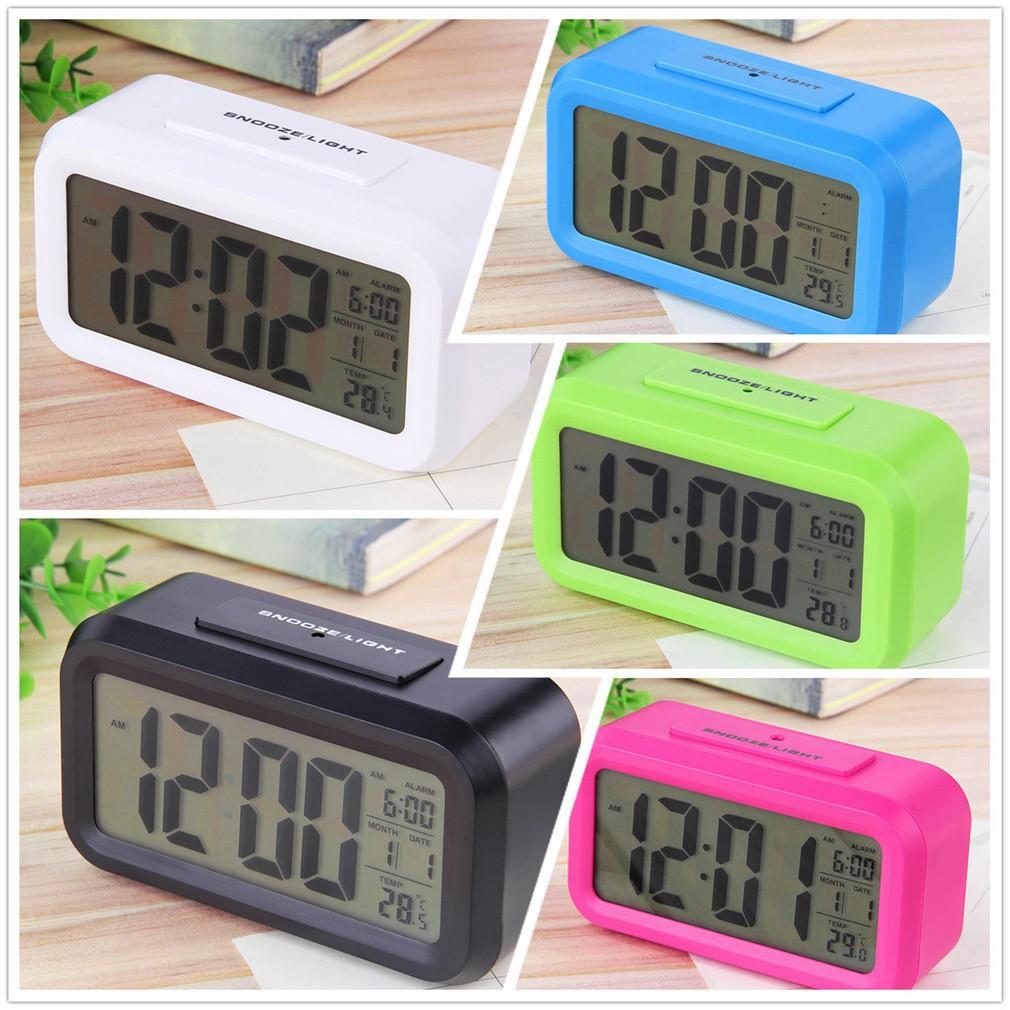 Jam Meja Digital LED Bahan Kayu Fitur Alarm 80131b7470