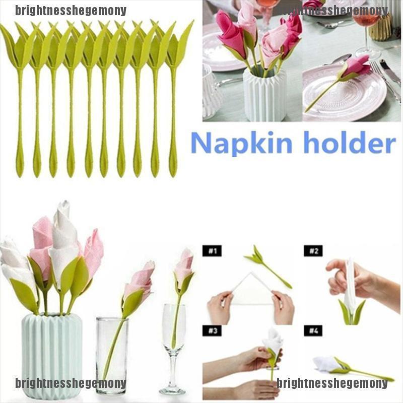 Bright Bsd 1 4 6 8pcs Napkin Holders Diy Paper Rose Flower Branch Holder Rack Napkin Clip Shopee Indonesia
