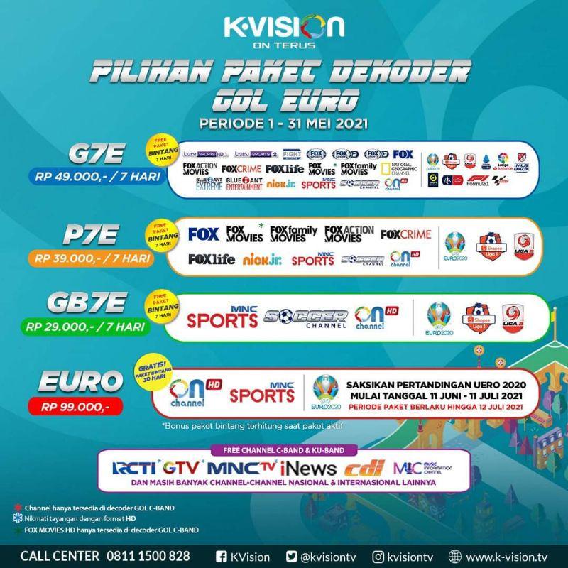 Voucher Paket K-Vision GOL ( G-Ottimo, Optus, LGsat Star ) [ PAKET 1 MINGGU ] + EURO 2021