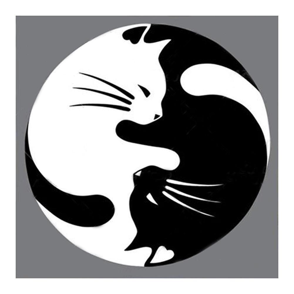 Diy Lukisan Diamond 5d Dengan Gambar Kucing Warna Hitam Dan Putih
