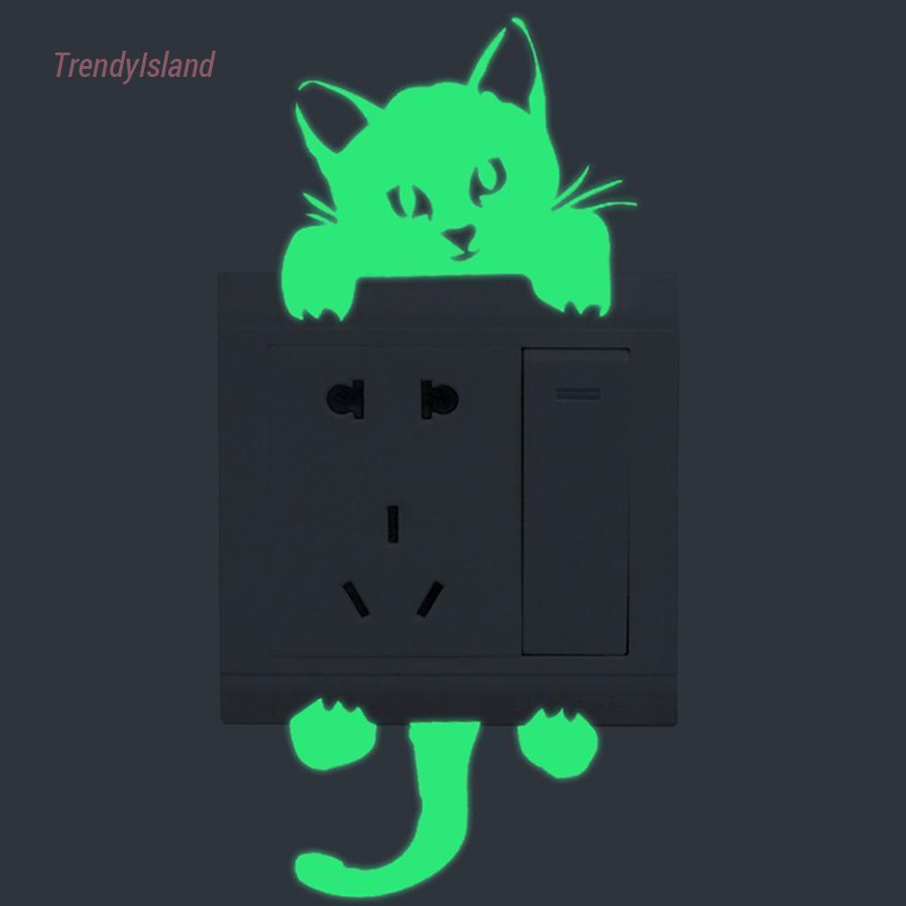 Tre Home Stiker Dinding PVC Glow In The Dark Gambar Kartun Kucing Untuk Saklar Lampu