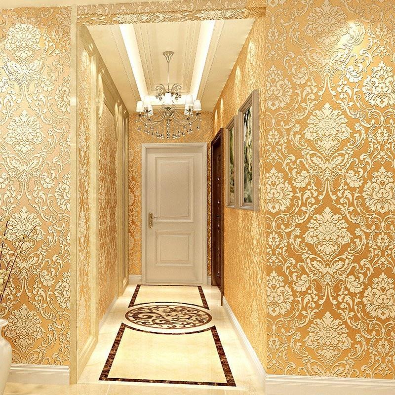 Wallpaper Dinding Model Embossed Motif Floral Warna Emas 3d Gaya Klasik Untuk Dekorasi Rumah | Shopee Indonesia