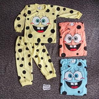 PY47 3 Setel Setelan Baju Tidur Piyama Bayi Anak Motif Spongebob Yeiko