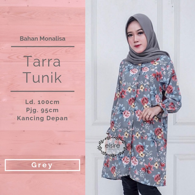 Tarra Tunik Baju Atasan Busui Motif Kerja Murah Kancing Depan Fashion Muslim Wanita Ori By Elsire Shopee Indonesia