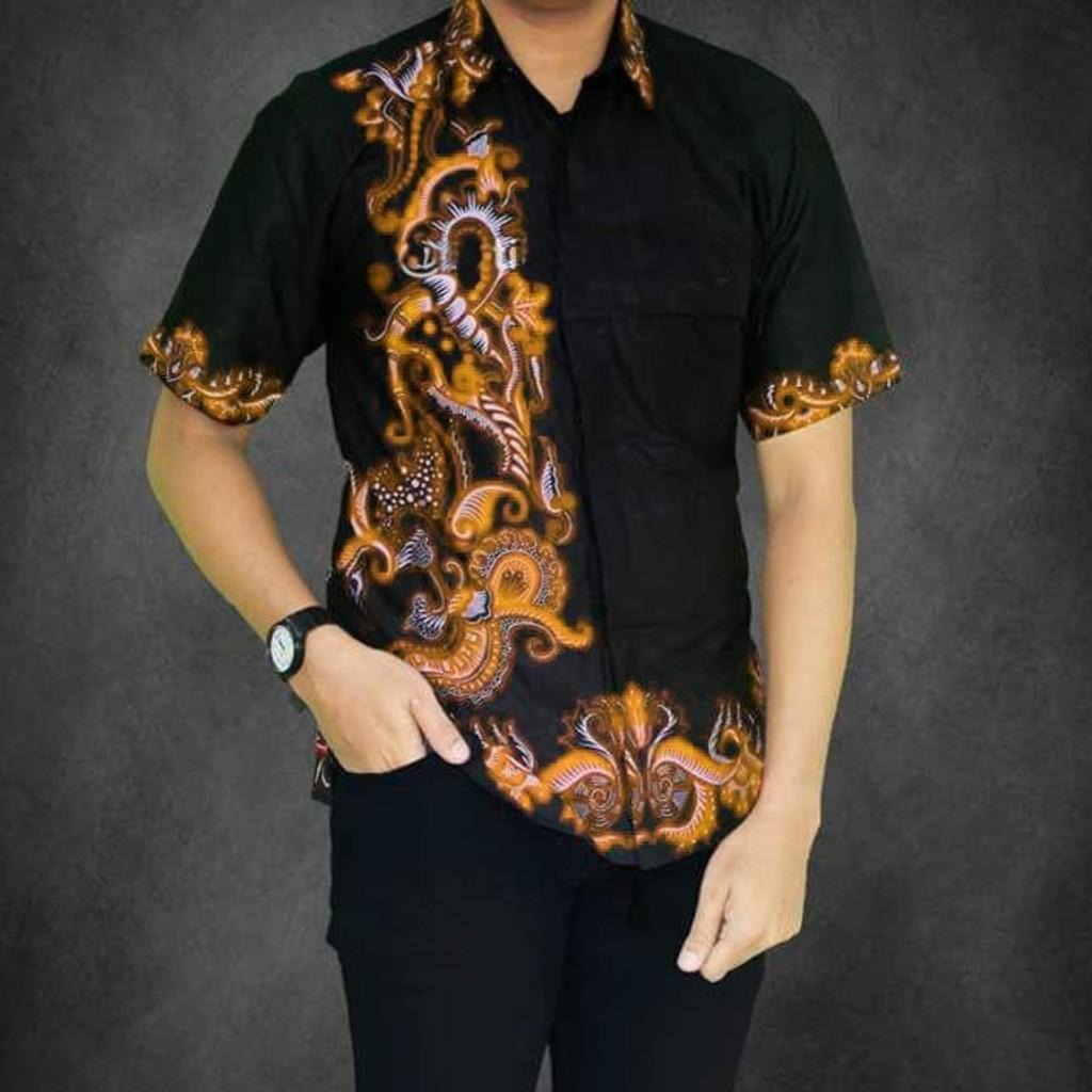 50 Desain Baju Batik Pria Kombinasi Kain Polos | Desaprojek