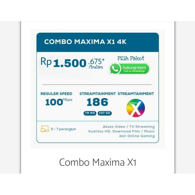 Firstmedia Internet Unlimited Tv Kabel First Media Combo MAXIMA X1 HD 100Mbps Area Jabodetabeka
