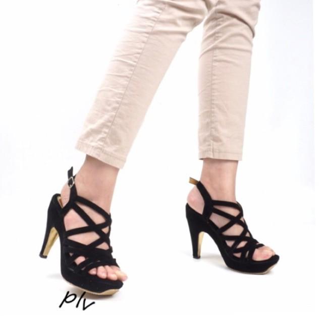 PROMO TERBARU Merce CLAUDIA Sepatu Selop Wanita Pita Ikat Hak Tahu Heels Hitam Moka Tan Pink