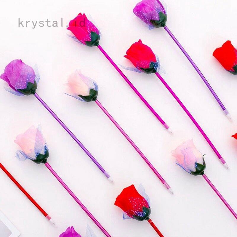 Krystal Shangjuno01 Stationery Pulpen Bentuk Bunga Mawar Kartun