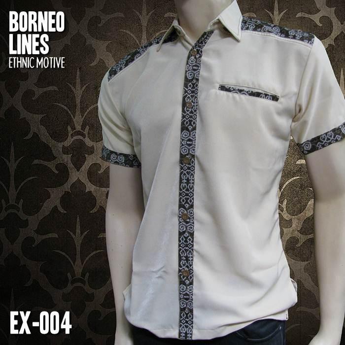 Batik Modern Batik Pria Kombinasi Warna Krem Borneo Lines Ex 004