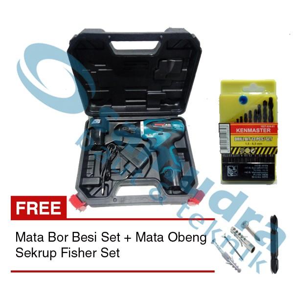 Paket Mesin Bor KENMASTER 10 mm Bolak Balik + Mata Bor Besi Set | Shopee Indonesia