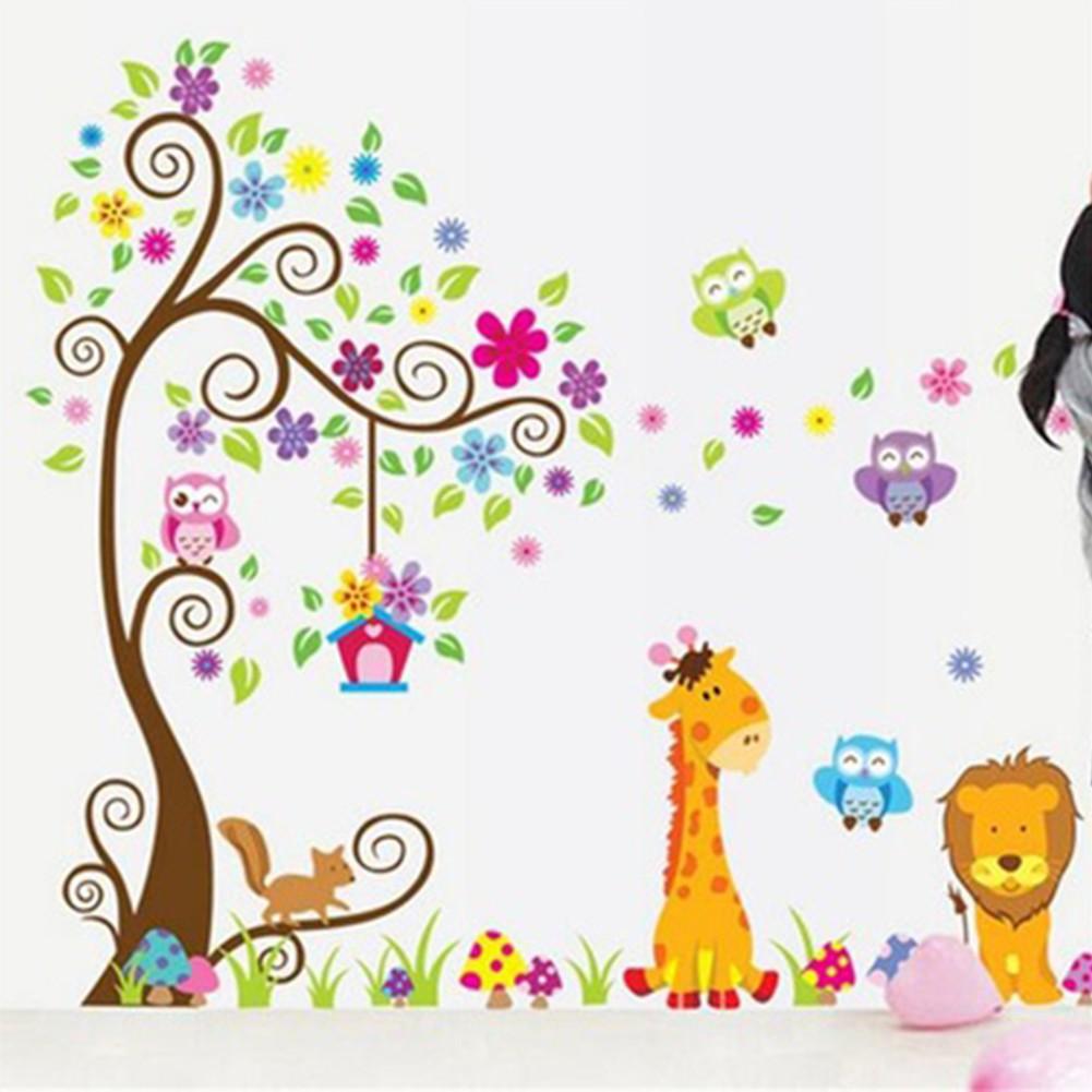 Stiker Dinding Dengan Bahan Mudah Dilepas Gambar Kartun Pohon Dan