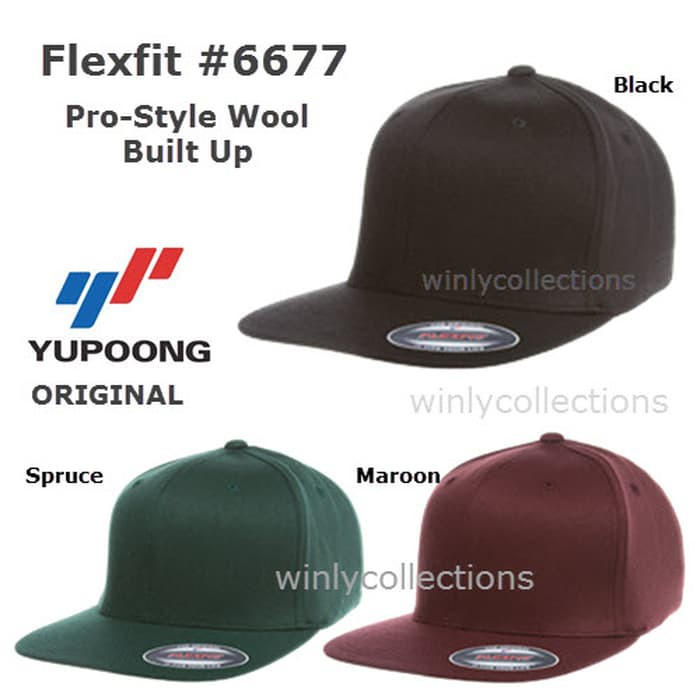 ca8c6ef20 Topi Flexfit Pro-Style Wool 6677 Built Up Yupoong Original M89 Keren |  Shopee Indonesia