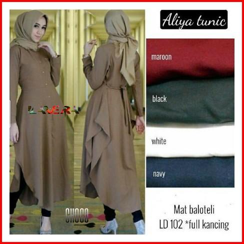 Baju Tunik Wanita Aliya Long Tunic Atasan Muslim Fit L Bahan Balotelli  Terbaru  f681798180