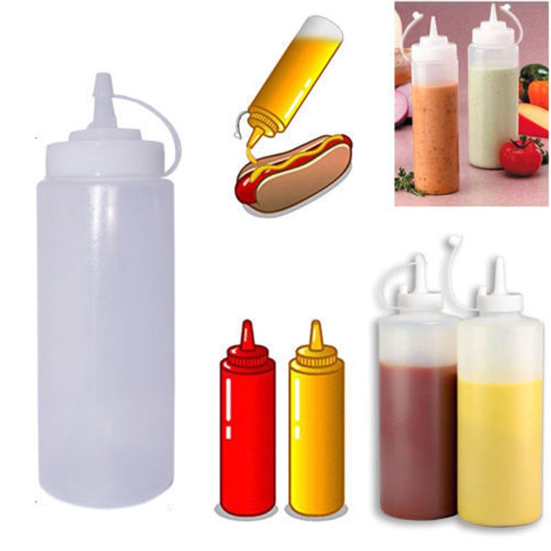 Clear Ketchup Squeeze Plastic Dispenser 8-32oz Condiment Mustard Sauce Bottle