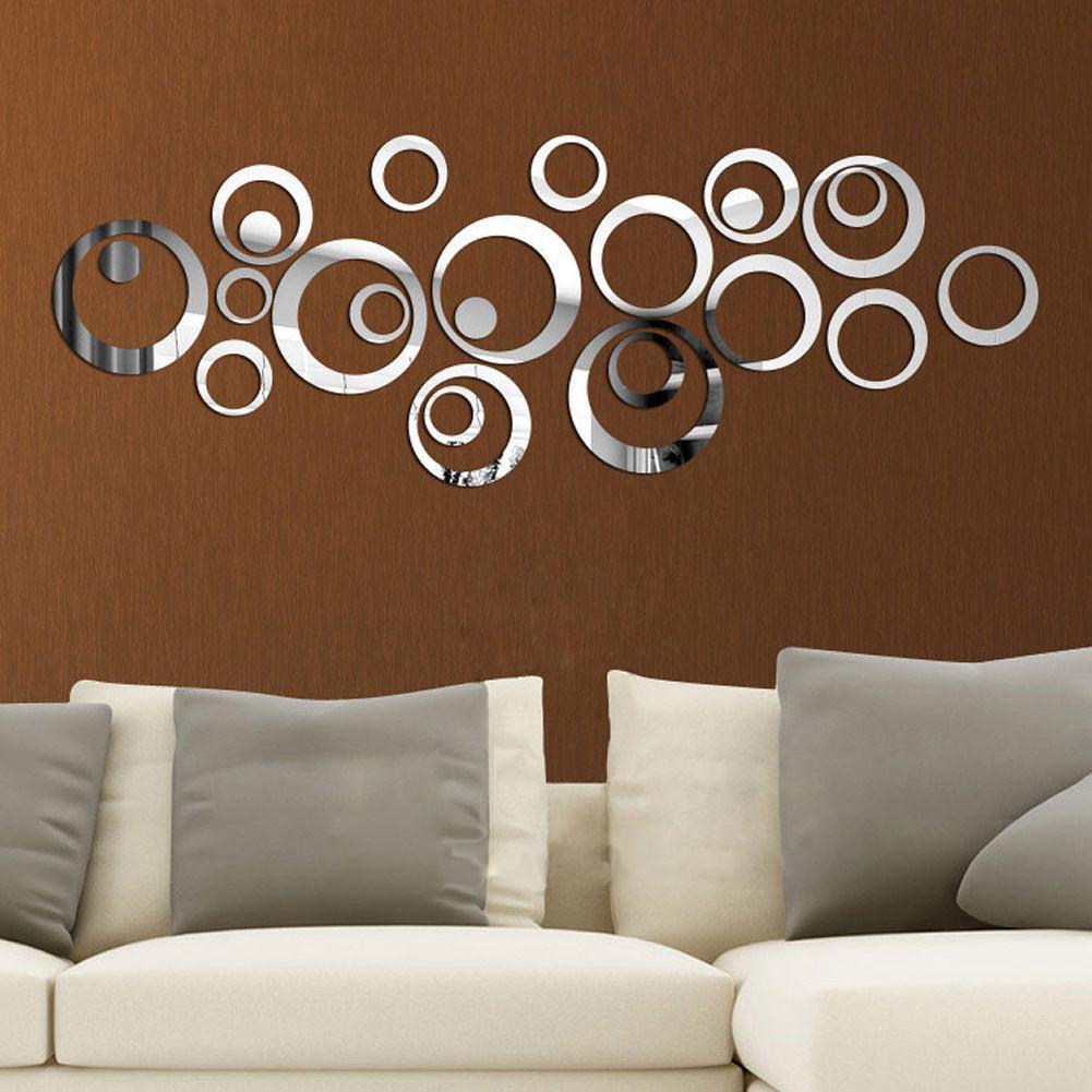 12Pcs 3D Mirror Room Vinyl Removable Oval Wall Sticker Decal Home Decor Art DIY