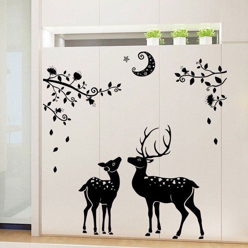 DIY Wall Art Sticker 3D New Derr Silhouette Removable Home Room Vinyl Decoration | Shopee Indonesia