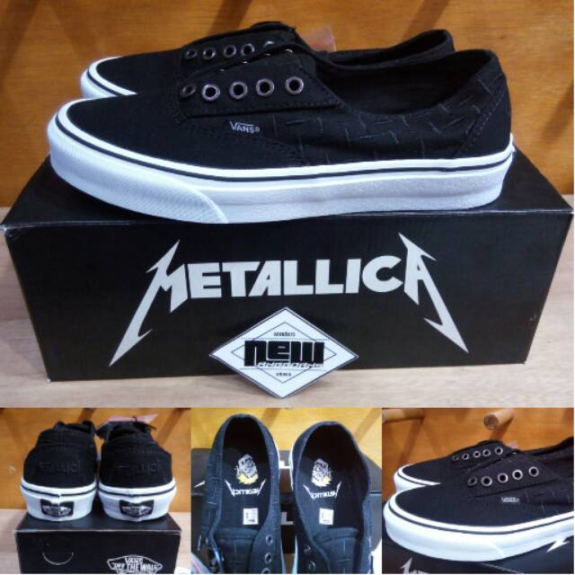 Sepatu Vans X Era Laceless Metallica Metalica Black White Hitam - Original  PREMIUM Waffle ICC BNIB  b826417de0