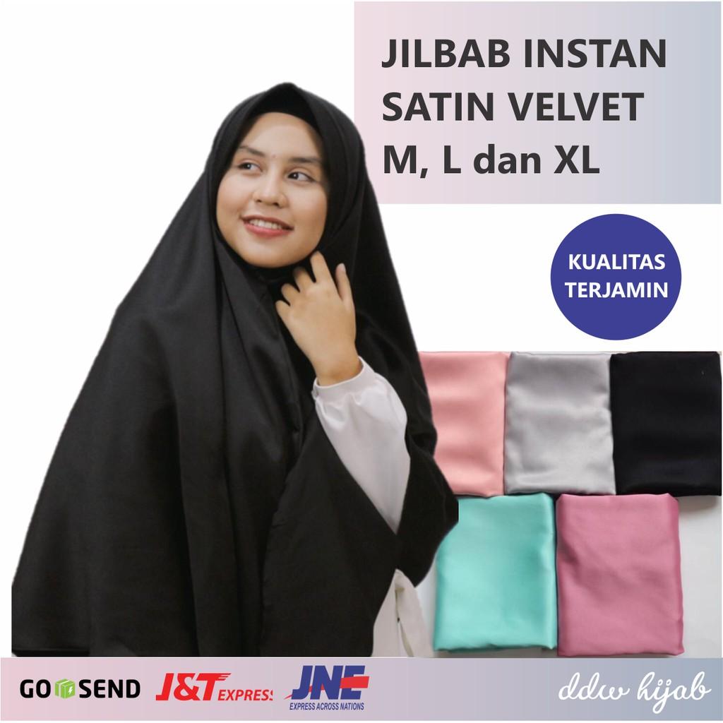 Jilbab Kerudung Hijab Khimar Instant Polos Antem Syari Syar I Satin Velvet Adem Murah Jumbo Besar Shopee Indonesia