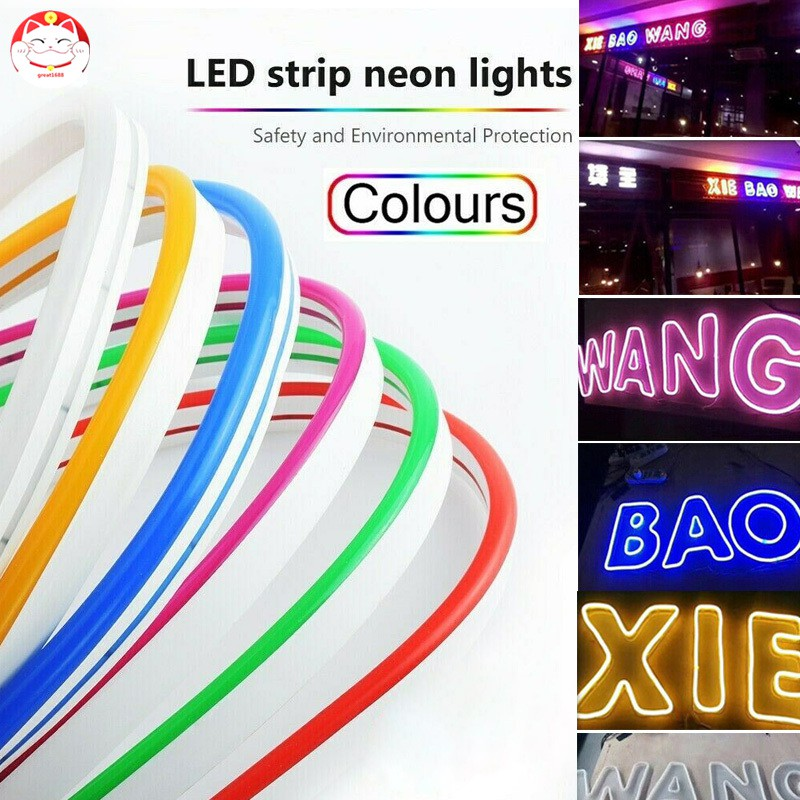 DC12V SMD2835 Flexible LED Strip Waterproof Neon Light Silicone Tube 1m-5m Lamp.